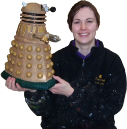 Photo - Sarah Myerscough (Me) with maquette of a Dr Who dalek